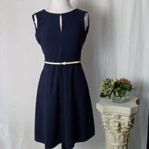 Calvin Klein navy blue sleeveless fitted dress
